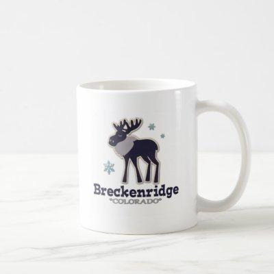 Blue winter snowflake moose Breckenridge Colorado Coffee Mug