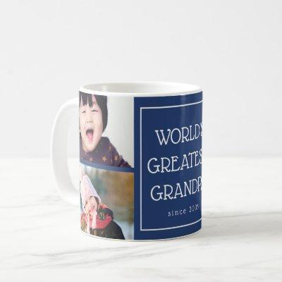 Blue World's Greatest Grandpa Photo Collage Coffee Mug