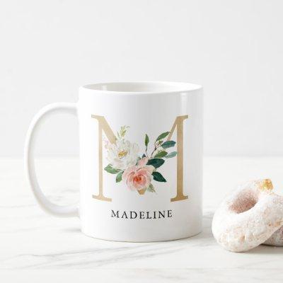 Blush Pink Floral & Gold Letter M Monogram Coffee Mug