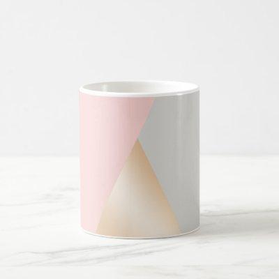 Blush pink, grey & rose gold geometric triangles coffee mug