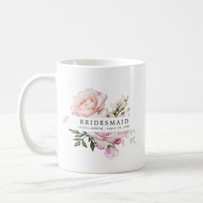 Blush Pink Rose Floral Bridesmaid Coffee Mug