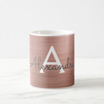 Blush Pink - Rose Gold Metallic Monogram Name Coffee Mug