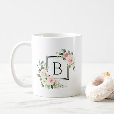 Blush Pink Watercolor Bloom Monogram Coffee Mug