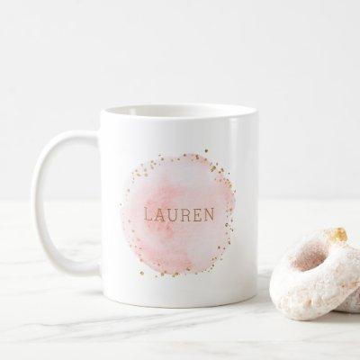 Blush Pink Watercolor Circle Gold Dots Coffee Mug