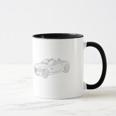 BMW Z4 Roadster Black and White Pencil Drawing Mug