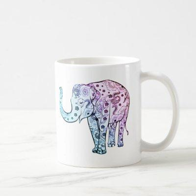 Bohemian elephant pastel floral beautiful coffee mug