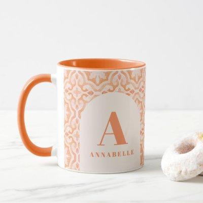 Bohemian watercolor pastel moroccan peach birthday mug