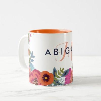 Boho Flowers - Name & Monogram Two-Tone Coffee Mug