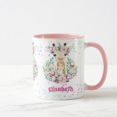 Boho Giraffe Flowers Named Girls, Teens Gifts Mug