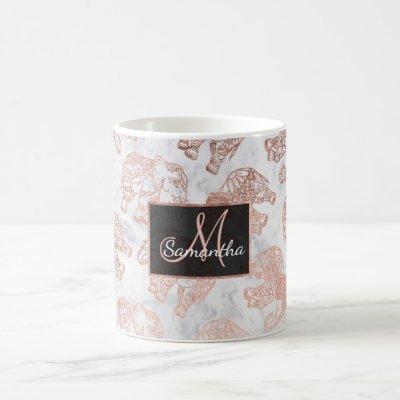 Boho rose gold paisley elephants white marble coffee mug