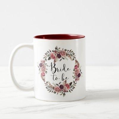 Boho Watercolor Fall Floral Wreath Bride to Be Two-Tone Coffee Mug