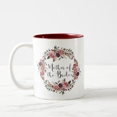 Boho Watercolor Floral Wreath Mother of the Bride Two-Tone Coffee Mug