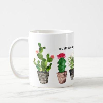 Boho Watercolor Succulents Pattern Personalized Coffee Mug
