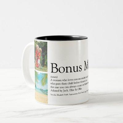 Bonus Mom, Stepmom Definition 4 Photo Collage Two-Tone Coffee Mug