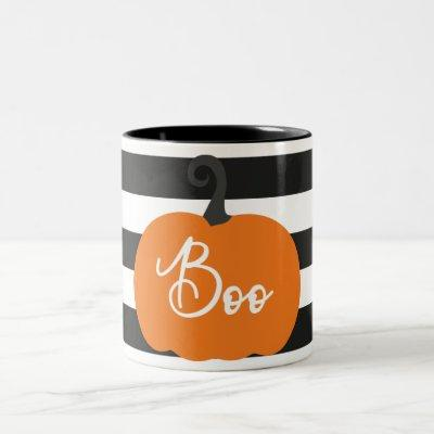 """Boo"" Pumpkin Halloween Two-Tone Coffee Mug"