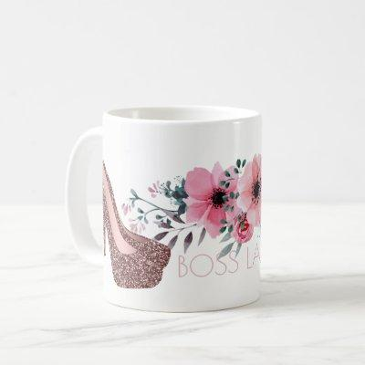 Boss Lady | Chic Floral Rose Gold Glitter Shoes Coffee Mug
