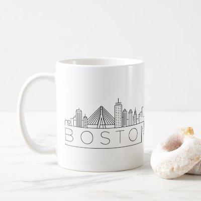 Boston City Stylized Skyline Coffee Mug