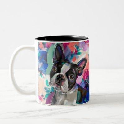 Boston Terrier Art Mug | turquoise