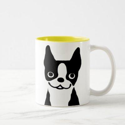 Boston Terrier - Cute Cartoon Dog Design Two-Tone Coffee Mug