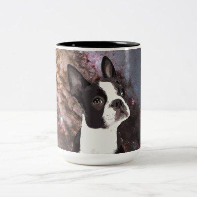 Boston Terrier in Space Two-Tone Coffee Mug