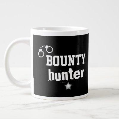 Bounty Hunter Handcuffs Bail Recovery Agent Black Giant Coffee Mug