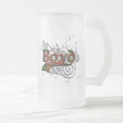 Boyd Tartan Grunge Frosted Glass Beer Mug