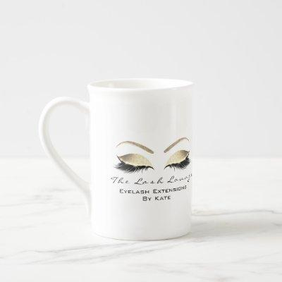 Branding Lashes Extension Beauty Studio Gold White Bone China Mug