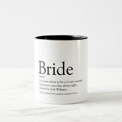 Bride Definition, Bridal Shower, Wedding Two-Tone Coffee Mug