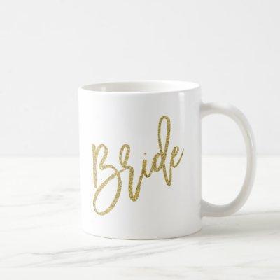 Bride Gold Glitter Script Coffee Mug