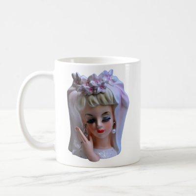 Bride in Pink Head Vase Manicure Bridal Shower Coffee Mug