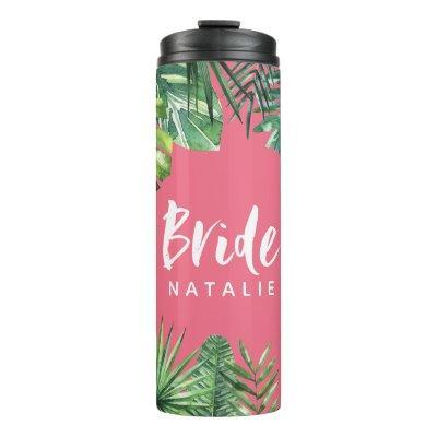 Bride watercolor tropical leaf bachelorette thermal tumbler