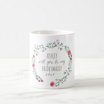 Bridesmaid proposal bothanical watercolor mug