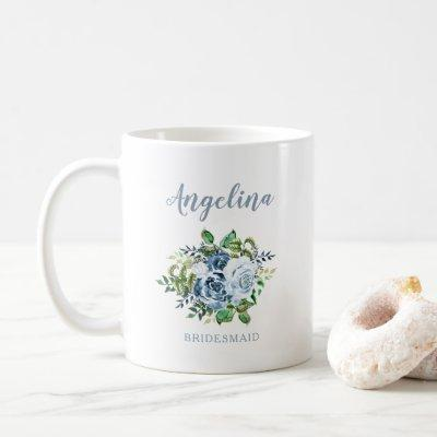 Bridesmaid Watercolor Floral Dusty Blue Wedding Coffee Mug