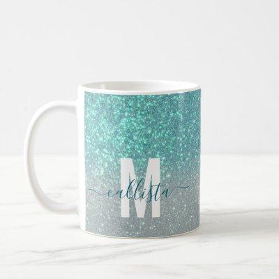 Bright Blue Teal Sparkly Glitter Ombre Monogram Coffee Mug