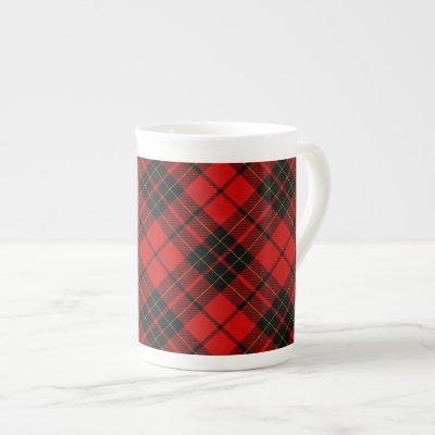 Brodie clan tartan red black plaid bone china mug