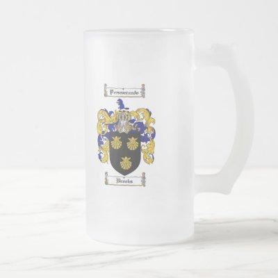 BROOKS FAMILY CREST -  BROOKS COAT OF ARMS FROSTED GLASS BEER MUG