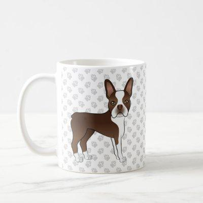 Brown And White Boston Terrier Cartoon Dog & Paws Coffee Mug