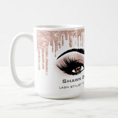 Brown Eyelashes Rose Sparkly Glitter Drips Coffee Mug