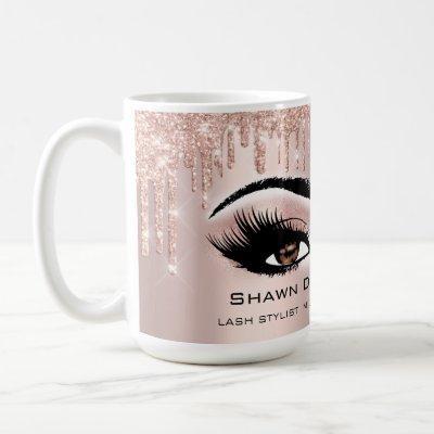 Brown Eyes Lashes Rose Glitter Drips Makeup Bride Coffee Mug