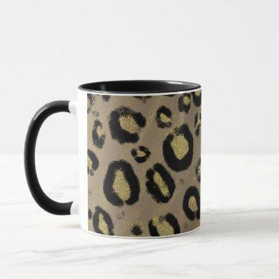 Brown Gold Glitter & Black Leopard Cheetah Print Mug