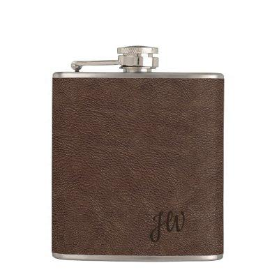 Brown Leather Look Monogram Flask