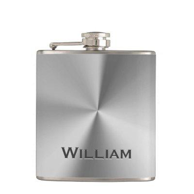 Brushed metal personalized name flask
