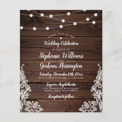 Budget Rustic Script String Lights & Lace Wedding