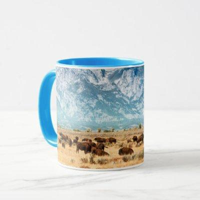 Buffalo Below the Grand Teton Mountains Mug