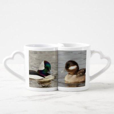 Bufflehead Duck Lovebirds on the Lake Coffee Mug Set