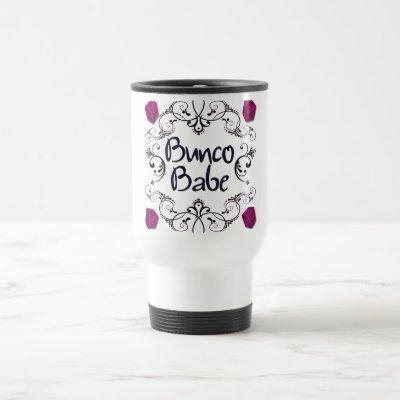 Bunco Babe with Swirls Button Travel Mug