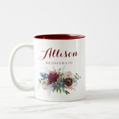 Burgundy and Navy Floral Bridesmaid Two-Tone Coffee Mug