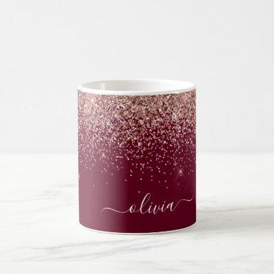 Burgundy Blush Pink Rose Gold Glitter Monogram Coffee Mug