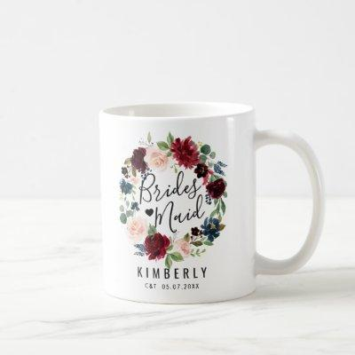 Burgundy Bouquet | Bridesmaid Coffee Mug