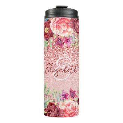 Burgundy Floral Rose Gold Glitter Personalized Thermal Tumbler